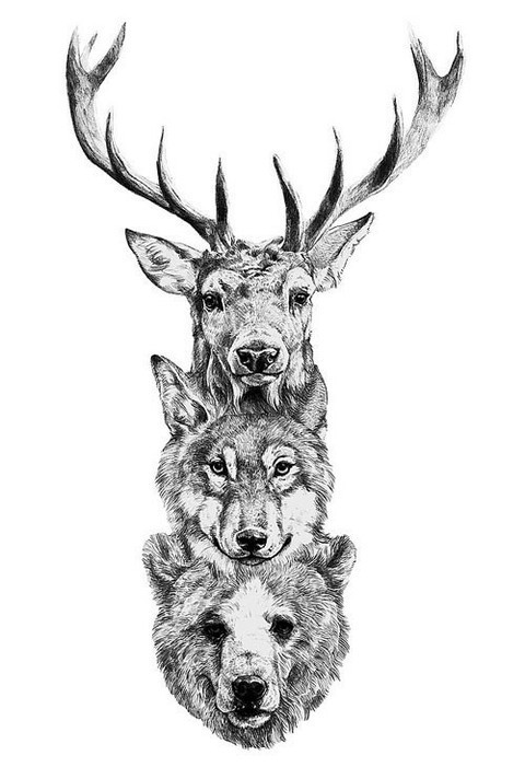Drawn stag hipster  Art Deer Tattoo and