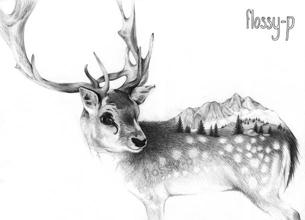 Drawn reindeer illustration Reindeer p new drawing illustration