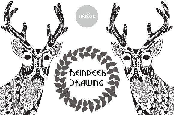 Drawn reindeer illustration Illustrations Reindeer ~ on Drawing