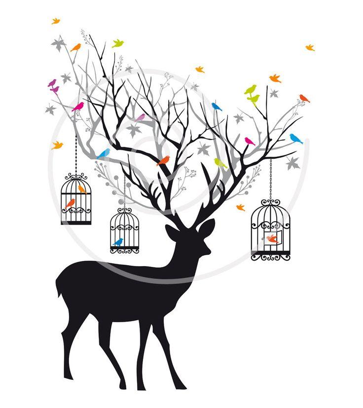 Drawn reindeer illustration Birdcages antlers and instant Reindeer
