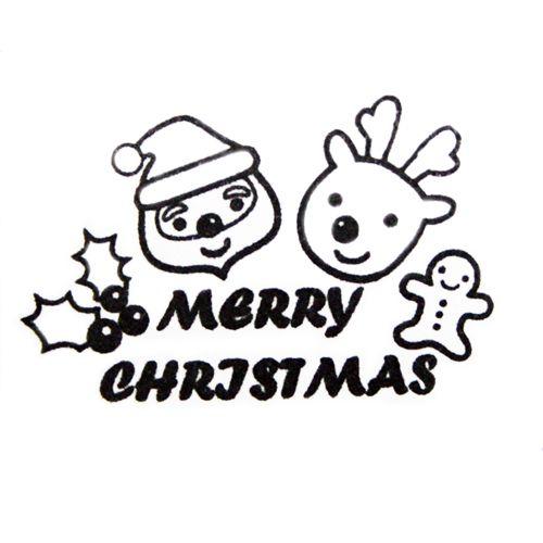 Drawn reindeer kawaii Santa  Christmas stamp cute