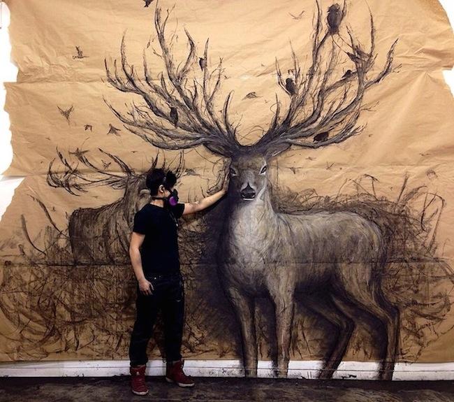 Drawn reindeer majestic 3D UNREAL: drawings  life