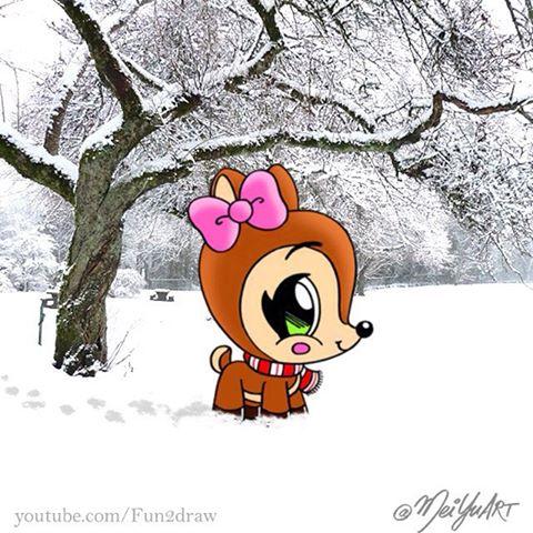 Drawn reindeer mei yu Talented and (@meiyuart) my followers