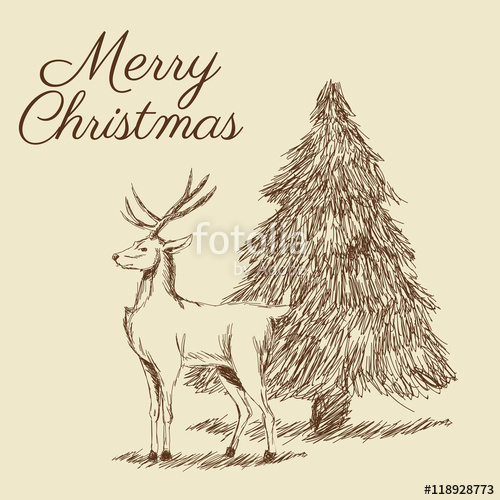 Drawn reindeer merry christmas Icon decoration design reindeer decoration