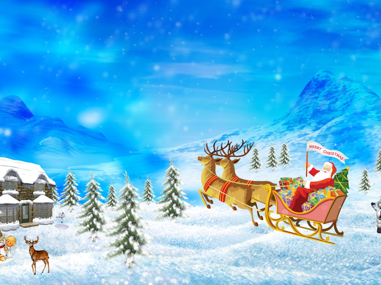 Drawn reindeer merry christmas Christmas Wallpapers Wallpapers drawing Holidays