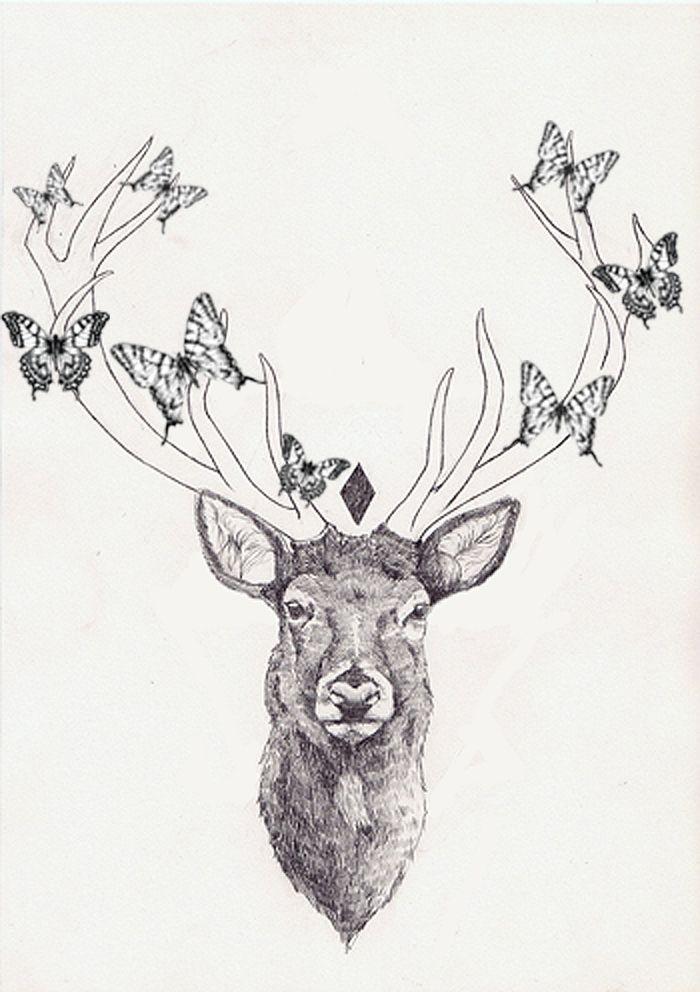 Drawn reindeer pinterest  på tattoo reindeer tatoo