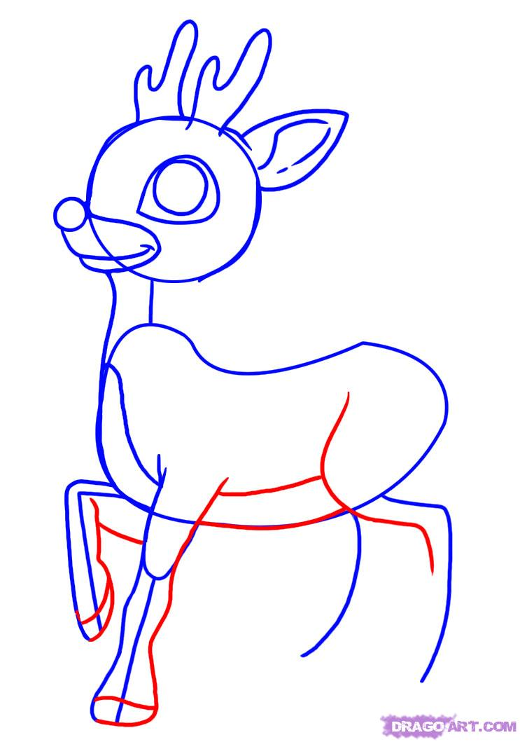 Drawn reindeer rednosed Step the by nosed How