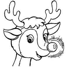 Drawn reindeer rednosed Printable Coloring 20 The The