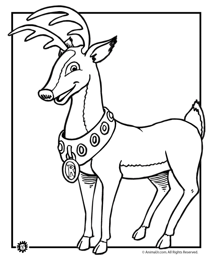 Drawn reindeer rudolf Coloring the Pages Deer Sheets