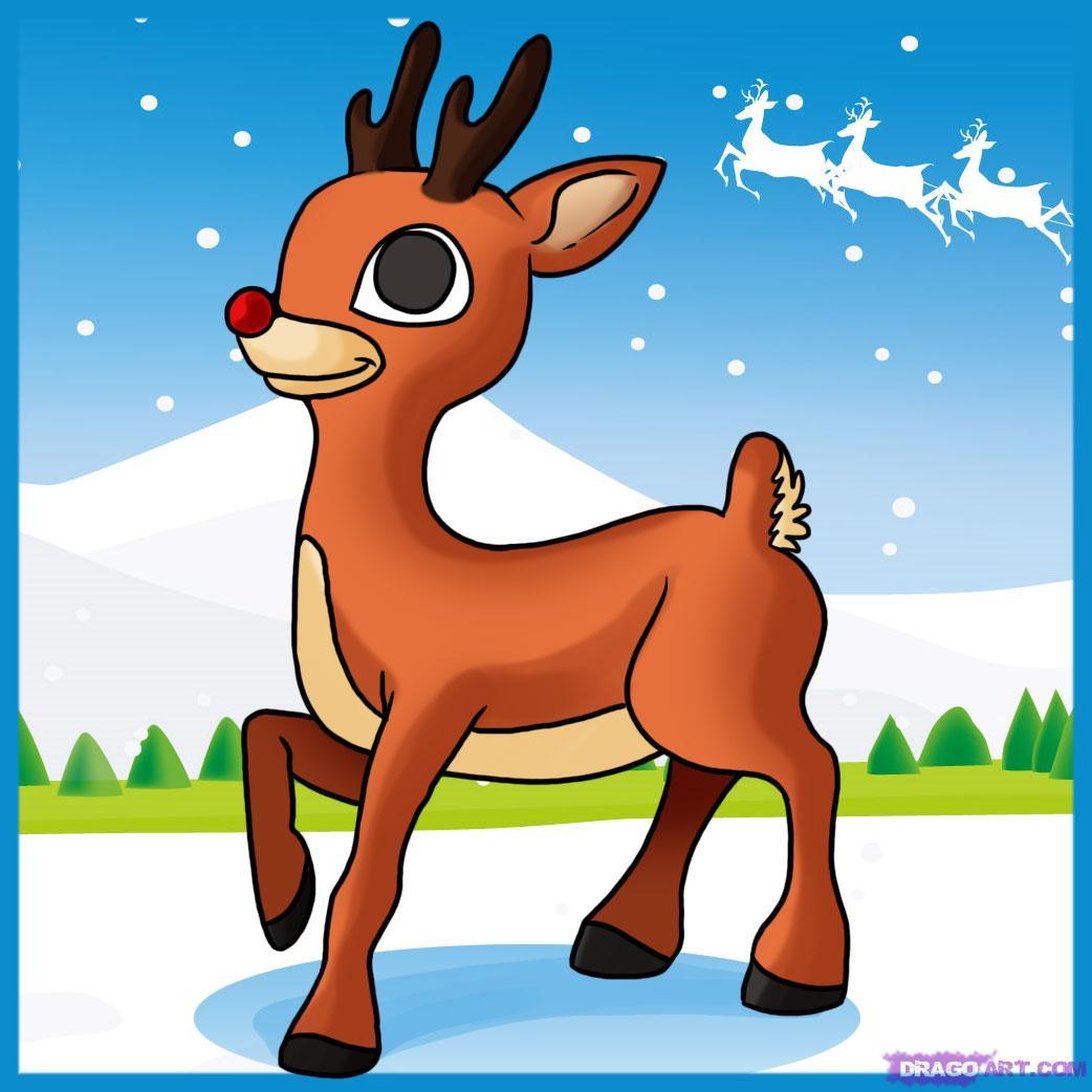 Drawn reindeer rudolf Reindeer the draw how Step
