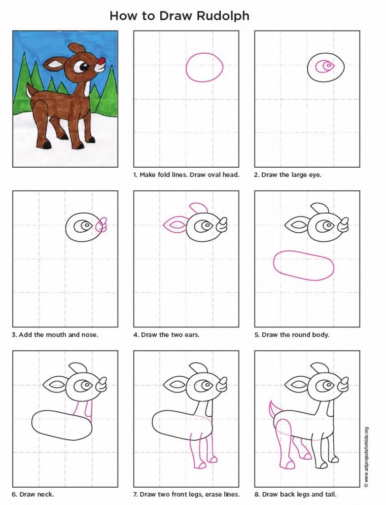 Drawn reindeer rudolph the red reindeer Red Kids for Art diagram