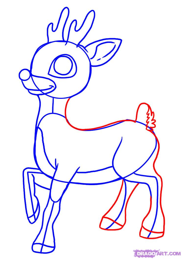 Drawn reindeer rudolph the red reindeer Step rudolph by Nosed Red