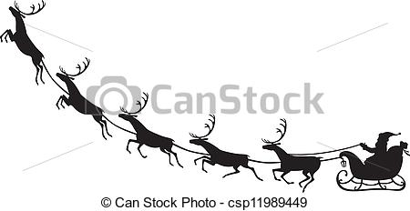 Drawn reindeer sleigh Silhouette riding sleigh reindeer riding