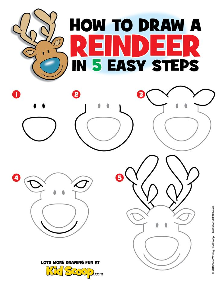 Drawn reindeer step by step By learn Reindeer how ideas