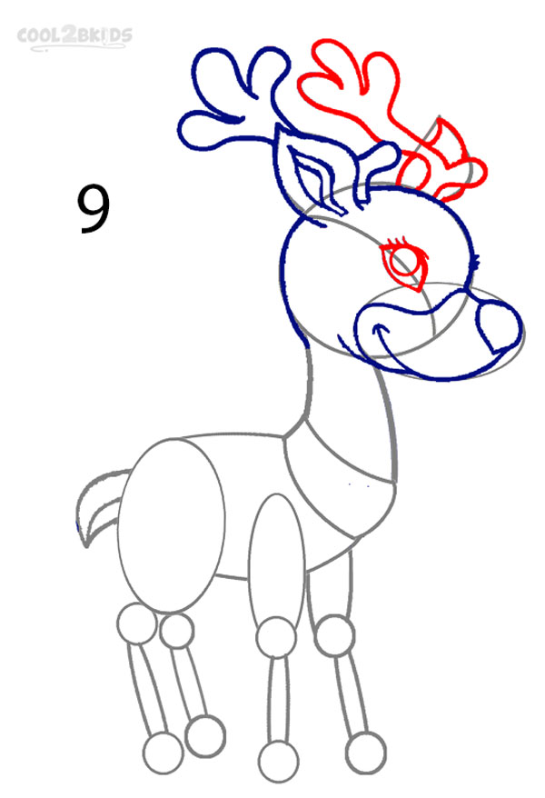 Drawn reindeer step by step A (Step by Reindeer How