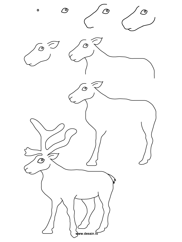 Drawn reindeer step by step Reindeer reindeer Drawing drawing