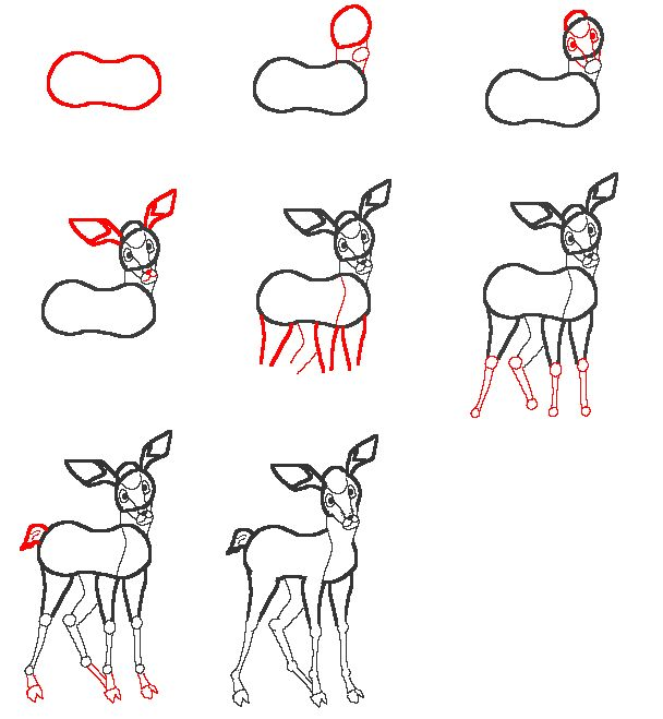 Drawn reindeer step by step A 34 best print step