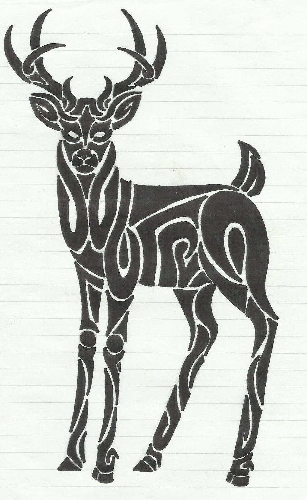 Drawn reindeer tribal By Lass Loopy by Tribal
