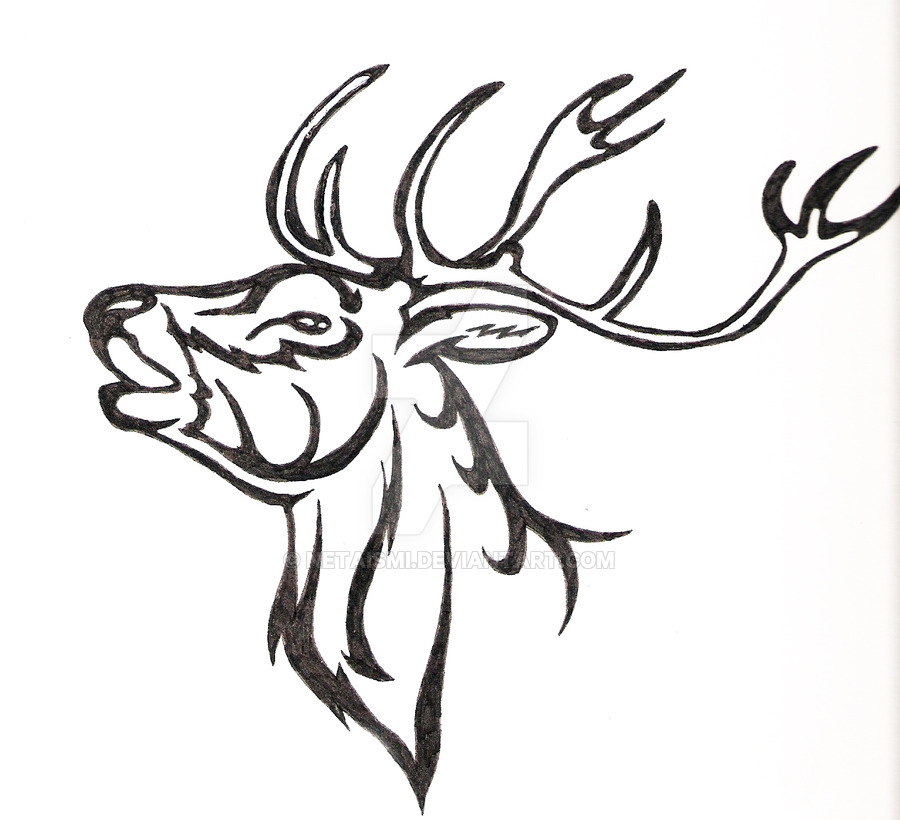 Drawn reindeer tribal By by Tribal reindeer reindeer