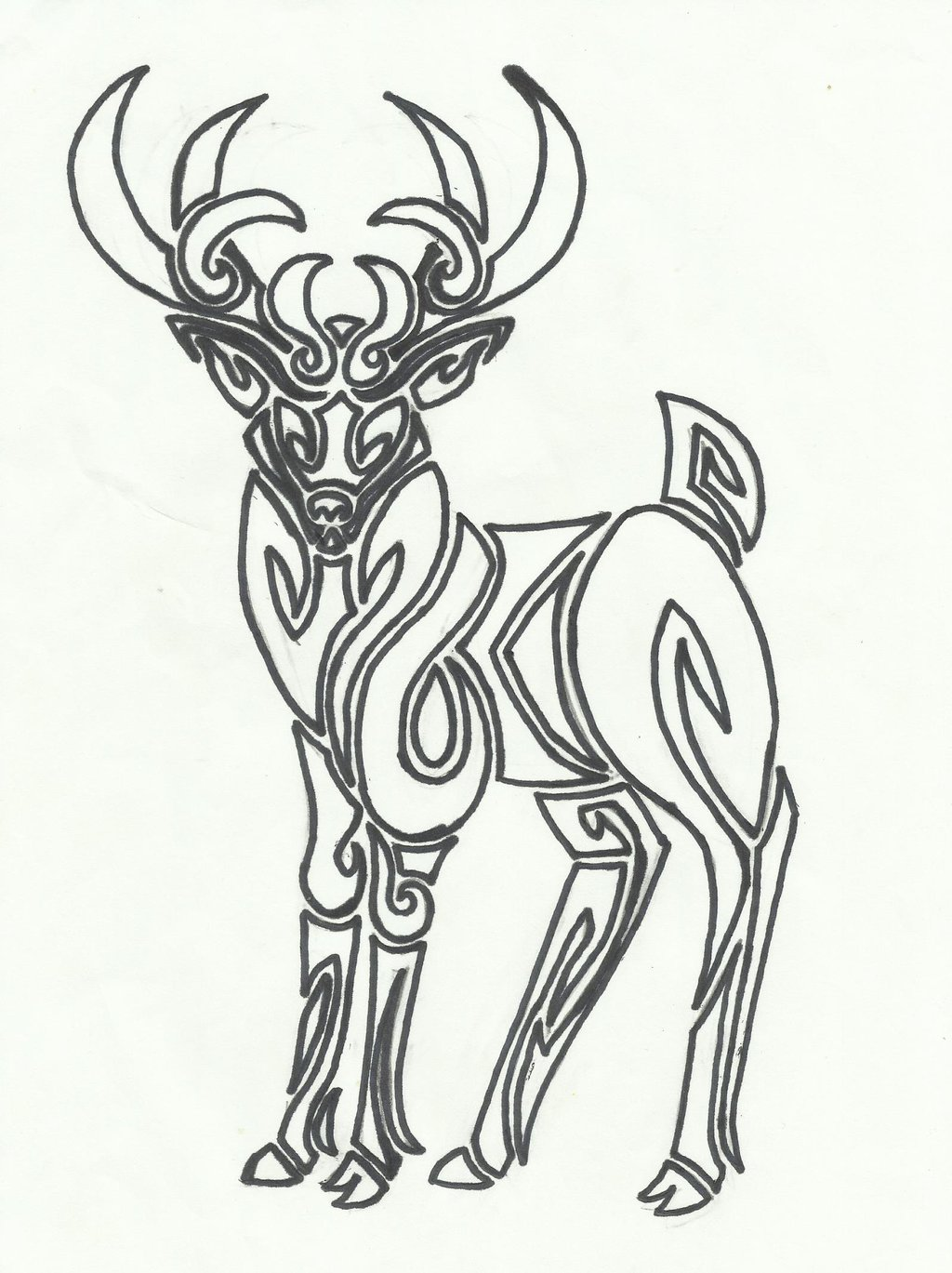 Drawn reindeer tribal Lass DeviantArt on Tribal by