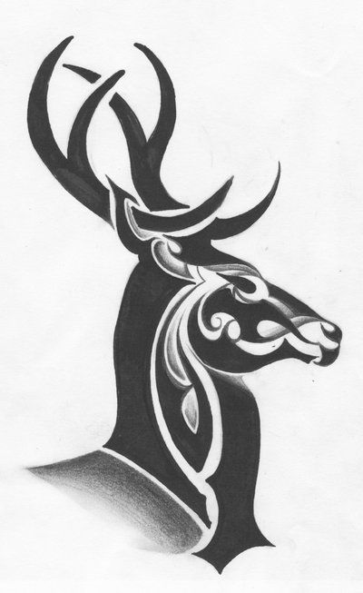 Drawn reindeer tribal Skull Clip drawings by stencils