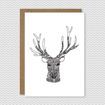 Drawn reindeer xma Christmas antlers xmas Quirky Tree