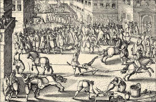 Drawn photos hung Quartering The assassin Henry Britannica
