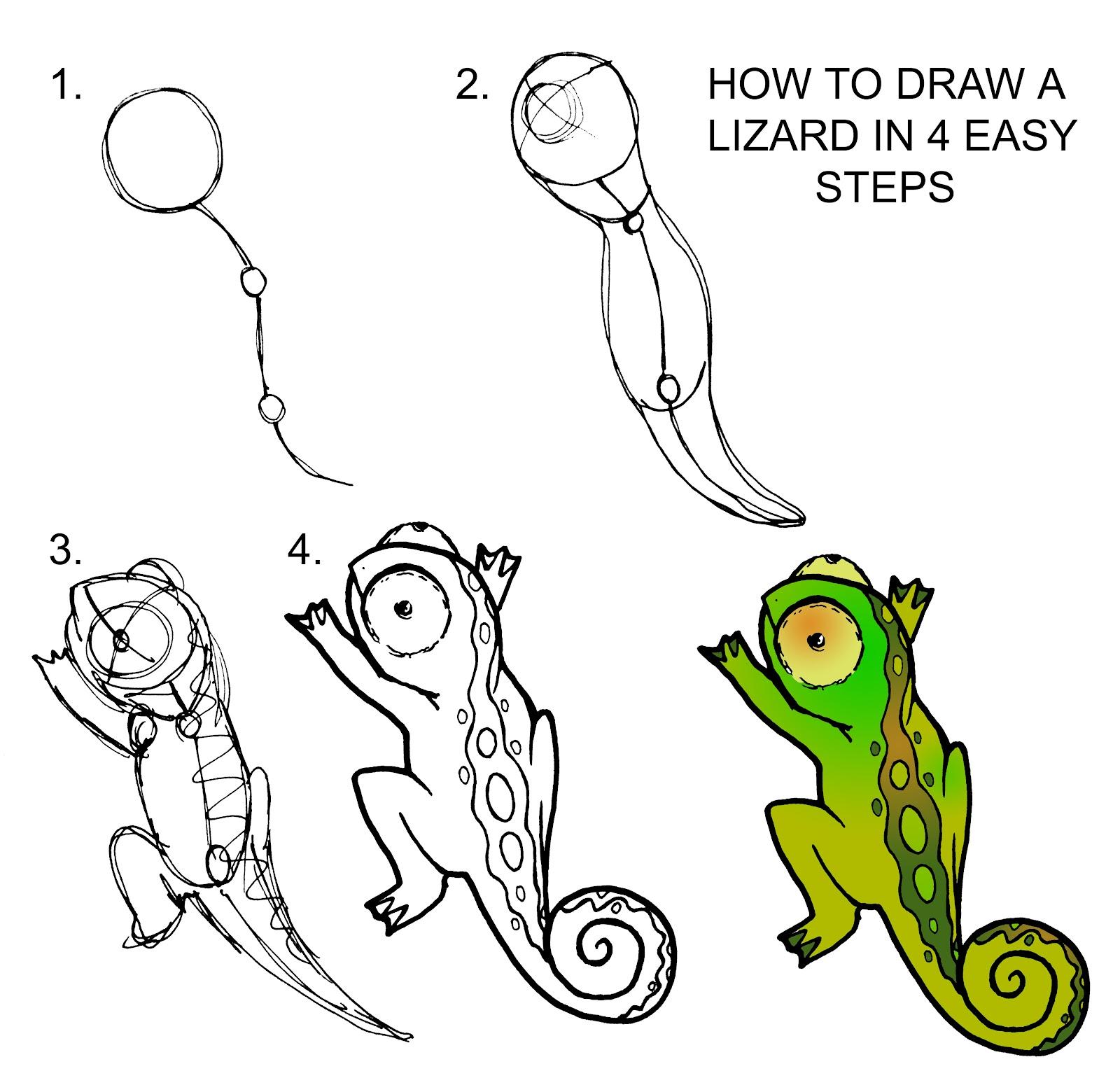 Drawn reptile easy Lizards Simple Lizard drawings of