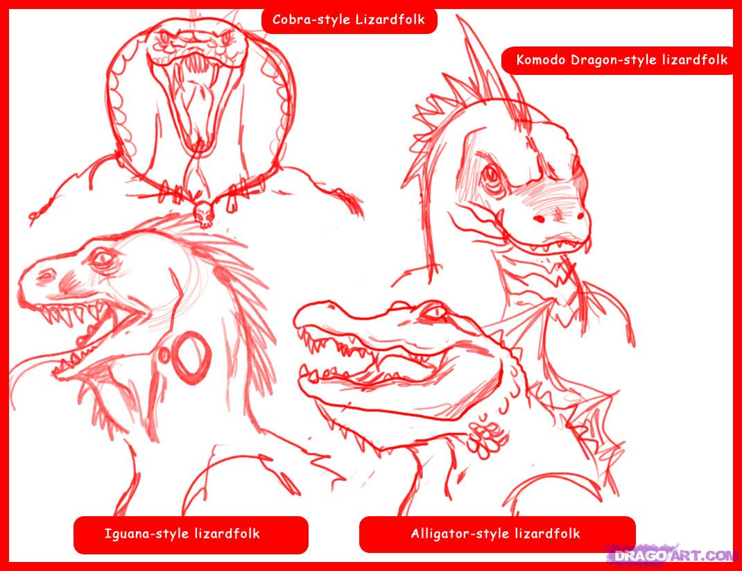 Drawn reptile face How Mythical Greek  to