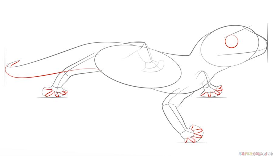 Drawn reptile gecko Gecko leopard Drawing tutorials step