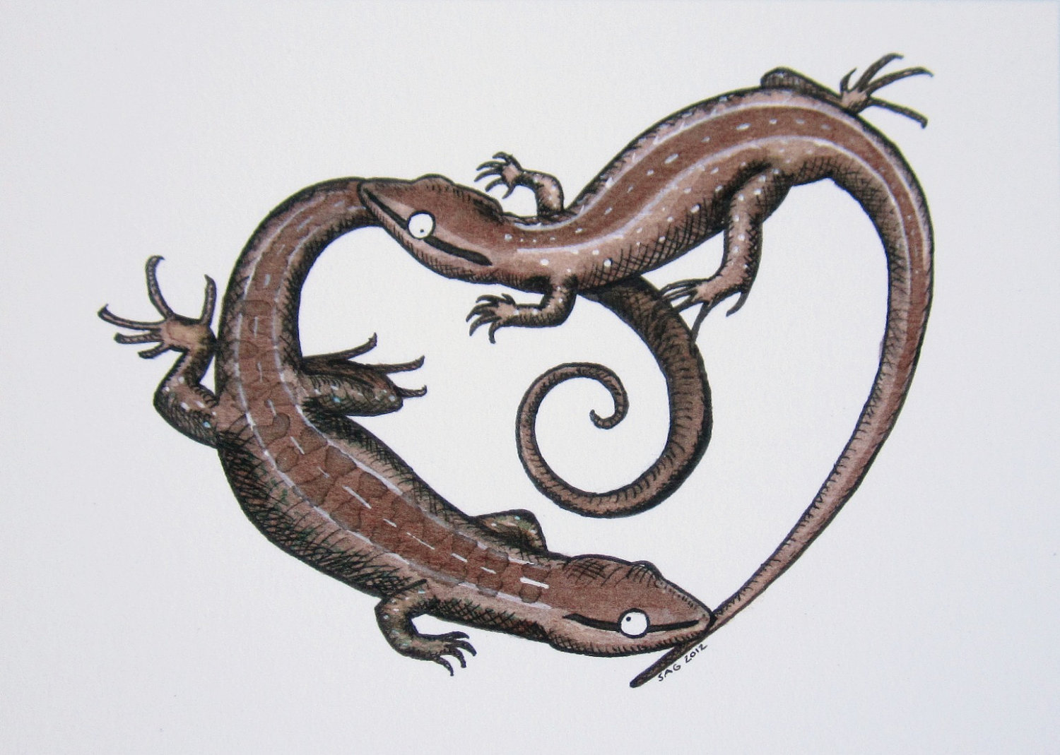 Drawn reptile salamander Drawing Ink Print of Courting