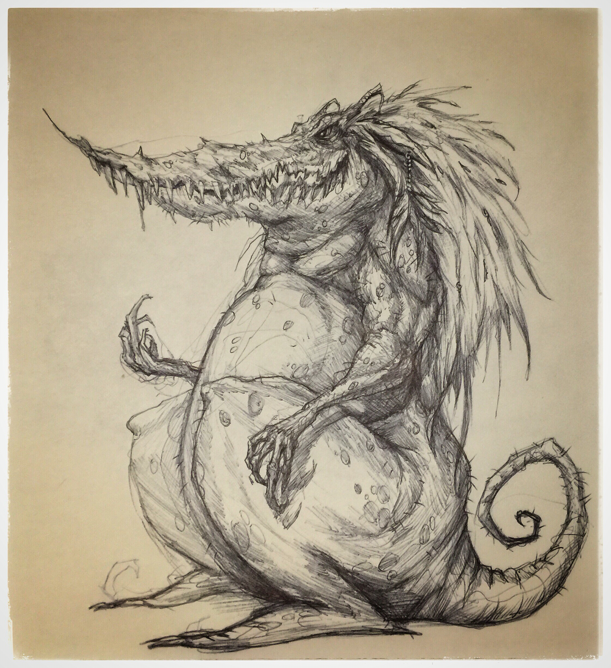 Drawn reptile stylized 4 #reptile #crosshatch #crosshatch #monster
