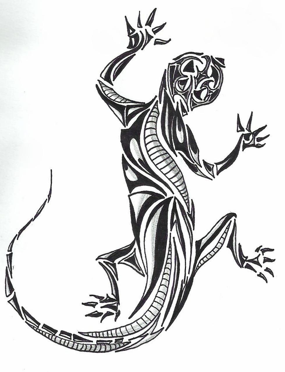 Drawn reptile tribal SketchDaily Lizard style 30th January