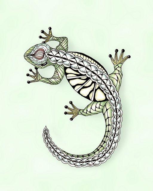 Drawn reptile zentangle Pinterest Zentangle animals Lizard on