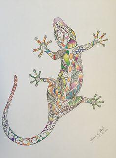 Drawn reptile zentangle Wall  colored zentangle art