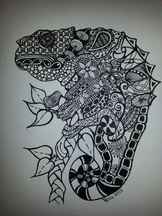 Drawn reptile zentangle On by SchizoidTomii  zentangle