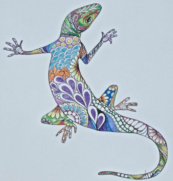 Drawn reptile zentangle Pencil lizard original lizard wall