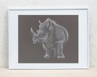 Drawn rhino africa Pastel Animal Illustration Rhino Animals