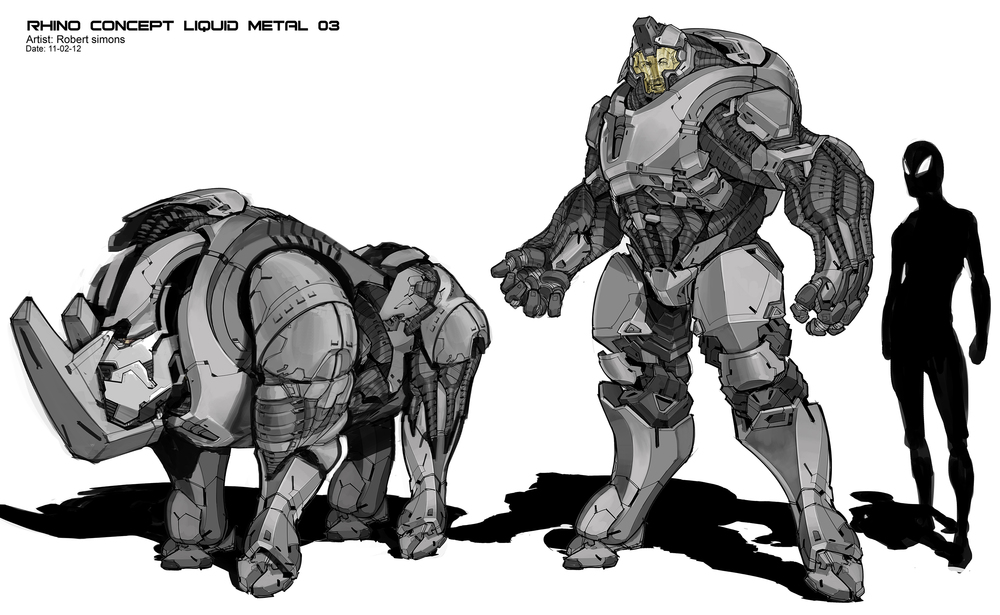 Drawn rhino armored Concept  jpg powered Marvel