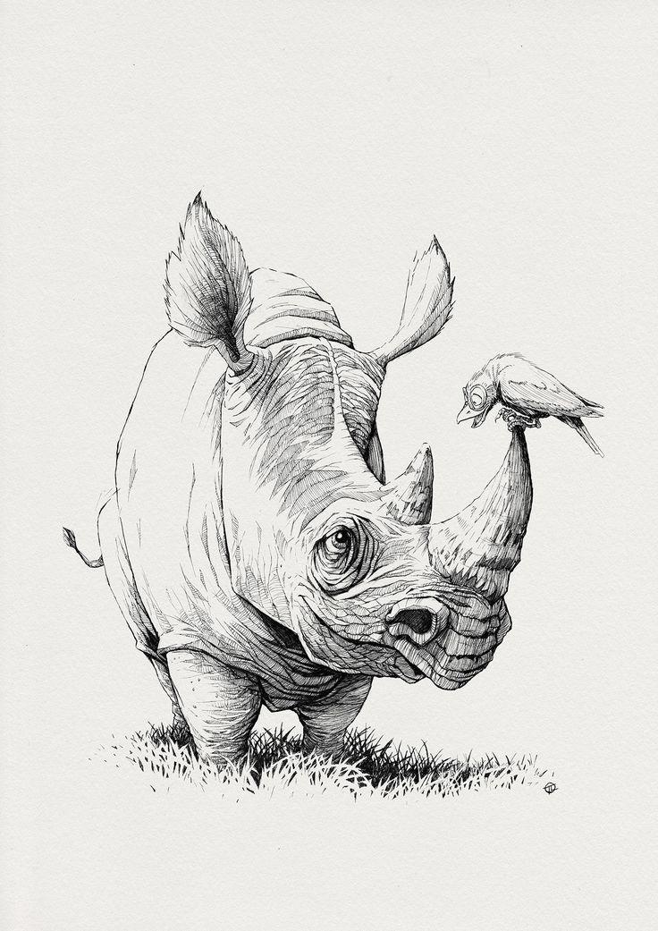 Drawn rhino battle Rhino LOVE ArtStation Larek Pinterest