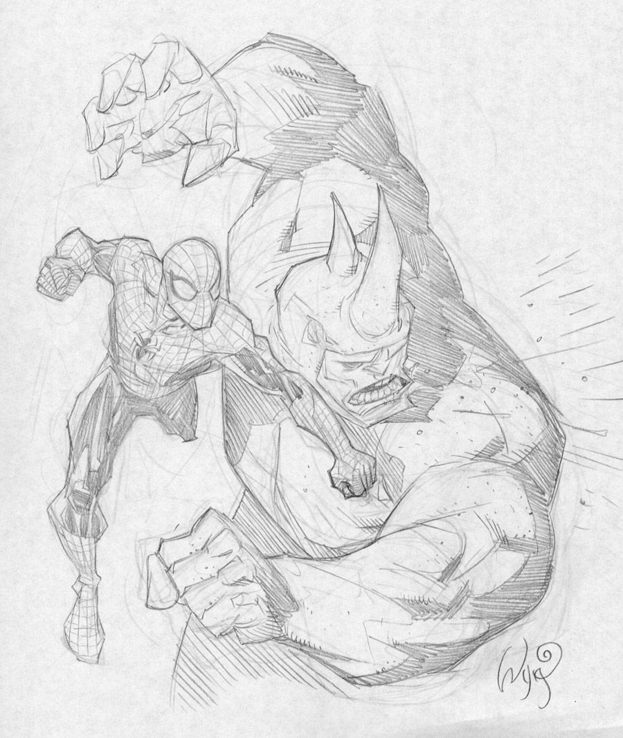 Drawn rhino battle Rhino @deviantART RyanOttley deviantart Spiderman