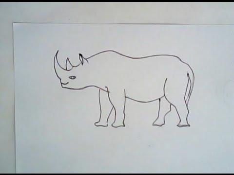 Drawn rhino black rhino (simple black black draw to