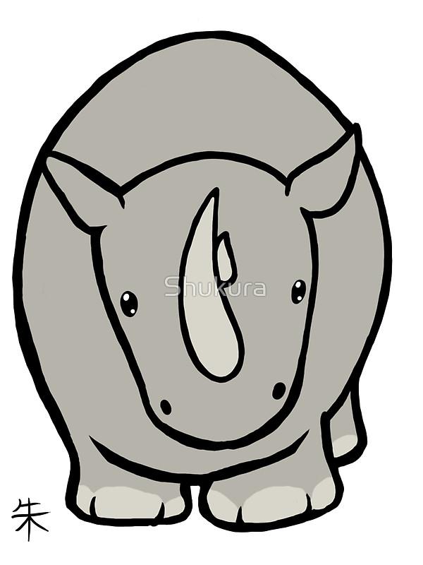 Drawn rhino chibi White by by Wildlife Rhino