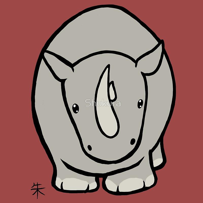 Drawn rhino chibi White Wildlife Shukura Wildlife Bags