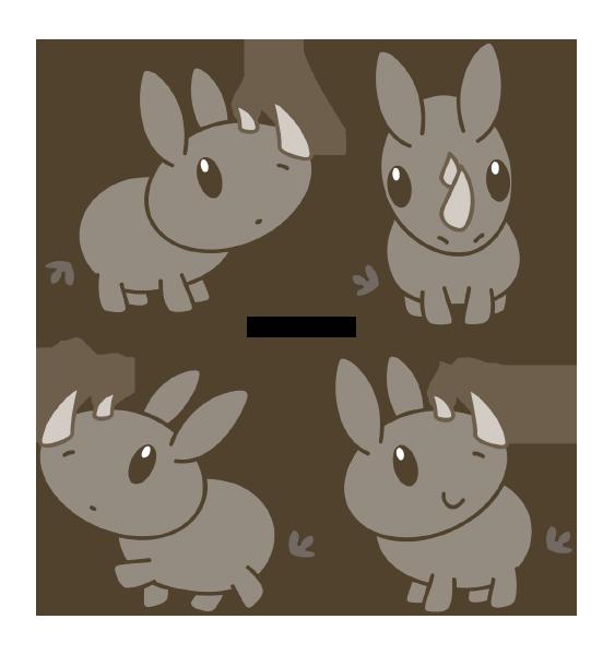 Drawn rhino chibi Rhinoceros on Chibi Daieny by