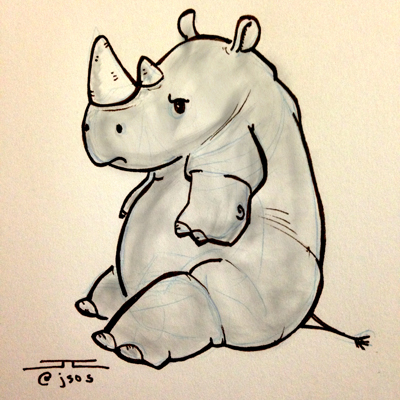 Drawn rhino cute Animal – challenge Electric: accepted