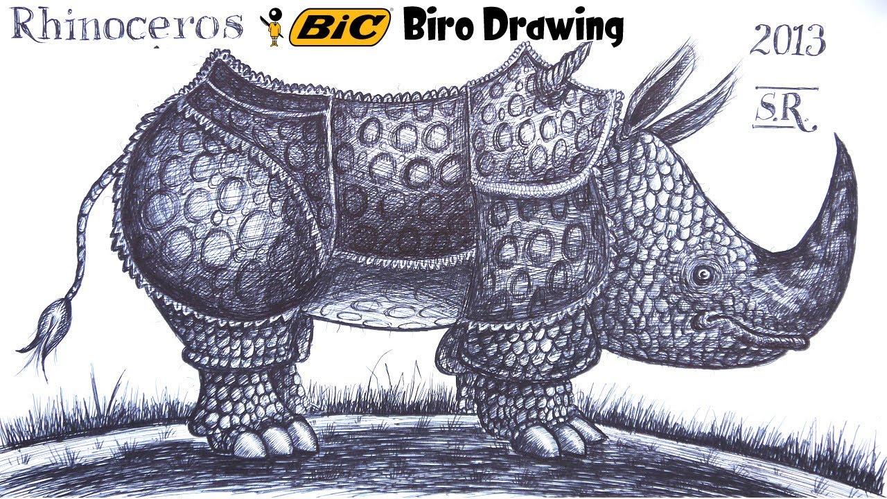 Drawn rhino draw a YouTube biro in ballpoint memory