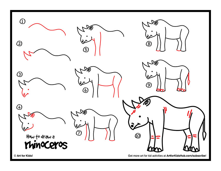 Drawn rhino easy For a Kids To Art