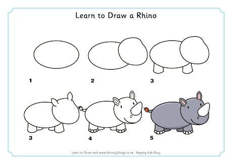 Drawn rhino easy Learn a  a Rhinos