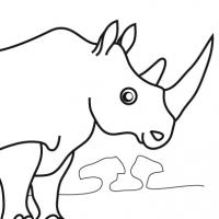 Drawn rhino easy Coloring rhinoceros Africa